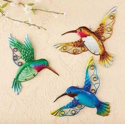 Hummingbird Birds Trio Metal Wall Hanging Set Indoor Outdoor Patio Spring Decor