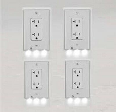 4 PACK LED WALL PLATES OUTLET COVERS NIGHTLIGHTS  **  SQUARE -