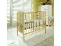 Kinder valley Sydney cot. Natural pine and white. FREE mattress. Brand new in sealed boxes. 2 left