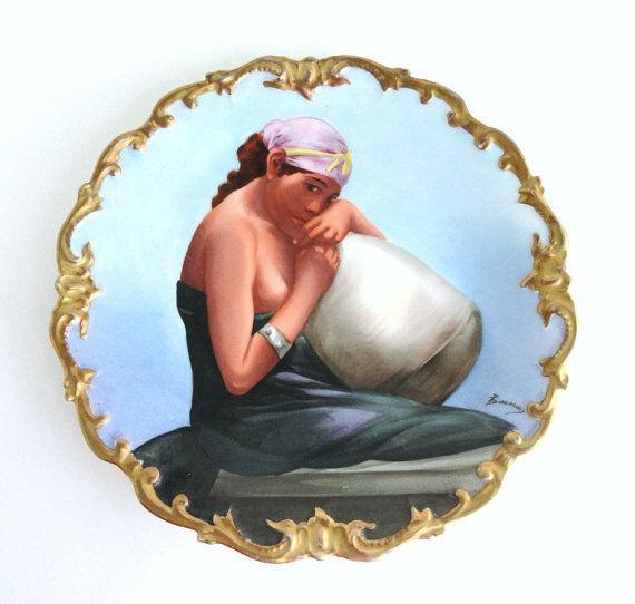 Antique Limoges France Hand painted Porcelain Portrait Plate Artist Baumy