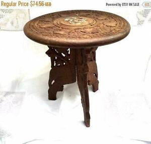 "vintage Carved Wood Side / Lamp Table Indian Pattern Brass Inlay 15"" Diameter"