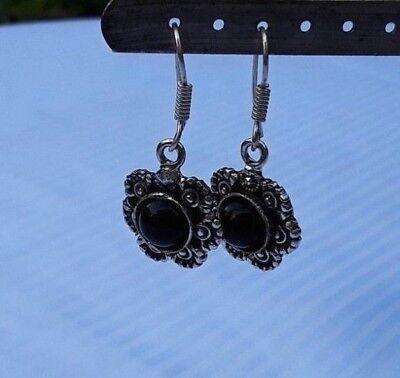 vintage black glass silver tone pierced earrings flower shaped