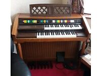 FREE Piano Electric Organ Antique wood in very good condition and very original Brand Lowrey Genie