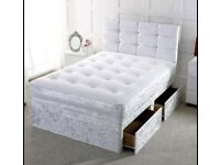 CRUSH VELVET DIVAN COMPLETE BED SET WITH TWO DRAWERS