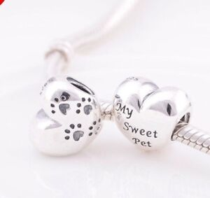 🇬🇧💜💜925 STERLING SILVER MY SWEET PET PAWPRINT CHARM & POUCH CAT DOG