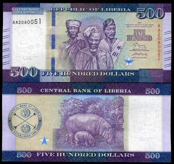 LIBERIA 500 DOLLARS 2017 P 36 NEW DATE UNC