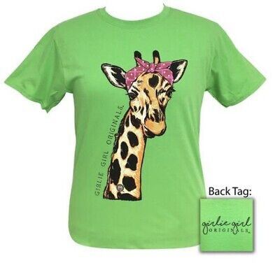 Girlie Girl Originals• Women's Bandana Giraffe Lime Green T-Shirt 2 (Lime Giraffe)