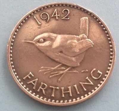 1942 KING GEORGE VI FARTHING (QUARTER OF A PENNY) COIN