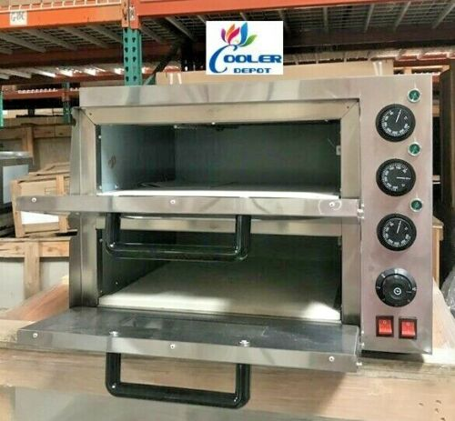 "NEW 16"" Electric Double Stone Base Pizza Oven Bakery Pizzeria Cooker Wings 110V"