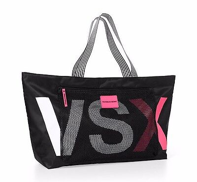Victoria's Secret VSX Large Zip Top Tote Bag Weekend Gym Black Pink Mesh Pocket