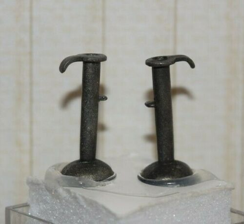 Colonial Hog Scraper Candle Sticks, Pewter-Dollhouse Miniature