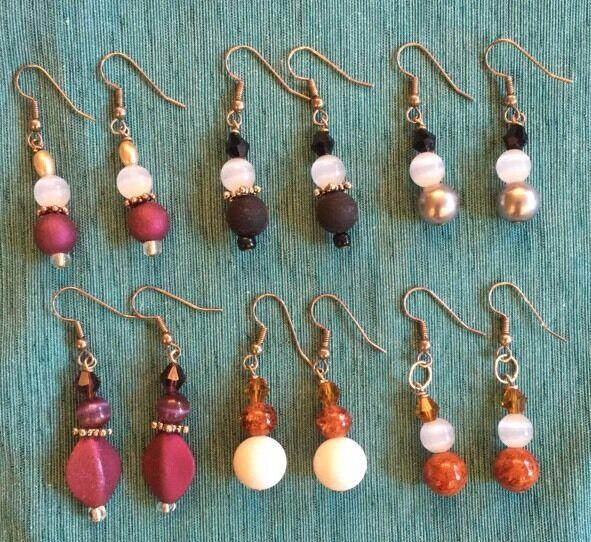 Awesome Artisan Handmade Lot of (6) Dangle Pierced Earrings - New!