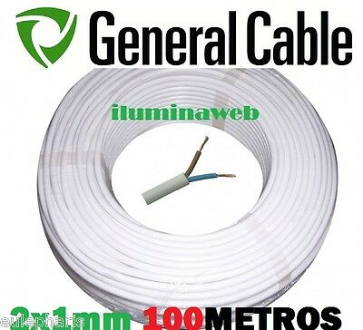 100 metros, Manguera blanca flexible 2x1.0mm2 GENERAL CABLE, electrico 1500w