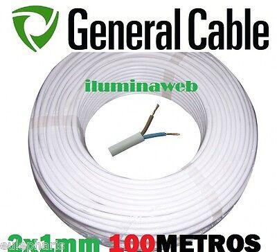 100 metros, Manguera blanca flexible 2x1.0mm2 GENERAL CABLE, electrico 1500w
