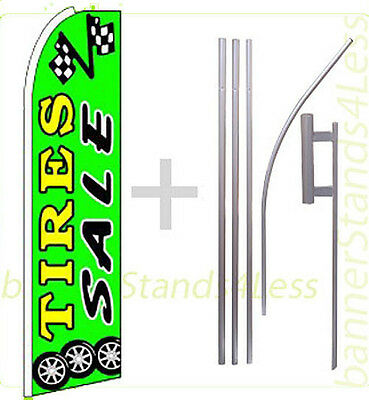 Tires Sale Swooper Flag Kit Feather Flutter Banner Sign 15 - Green Gq