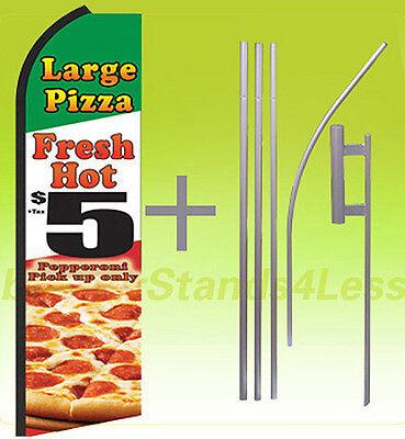 Large Fresh Hot Pizza 5 Swooper Flag Kit Feather Flutter Banner Sign 15 - Q