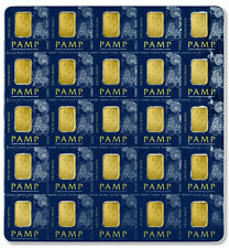 Sheet of 25 - PAMP Suisse 1 Gram .9999 Gold Bars - Fortuna W/ Cert SKU30487