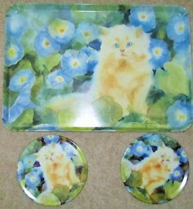 PERSIAN KITTENS SERVING TRAY & TRIVET SET = New condition