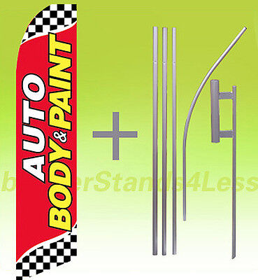 Auto Body Paint Swooper Flag Kit Feather Flutter Banner Sign 15- Checkered Rb