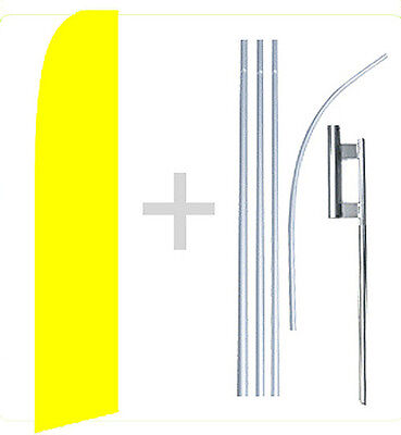 Yellow Solid Color Swooper Flag Kit Feather Flutter Banner Sign 15 Tall - Yb