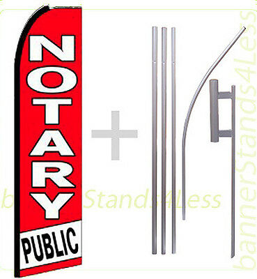 Notary Public Swooper Flag Kit Feather Flutter Banner Sign 15 Tall - Rq