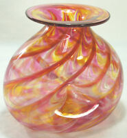 Stunning Signed Hand Blown Art Glass Vase