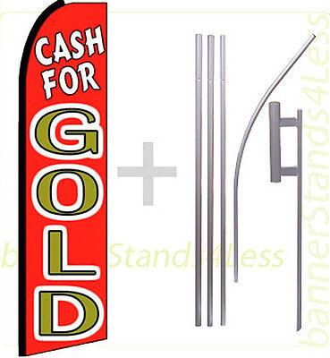 Cash For Gold Swooper Flag Kit Feather Flutter Banner Sign 15 Tall - Rq