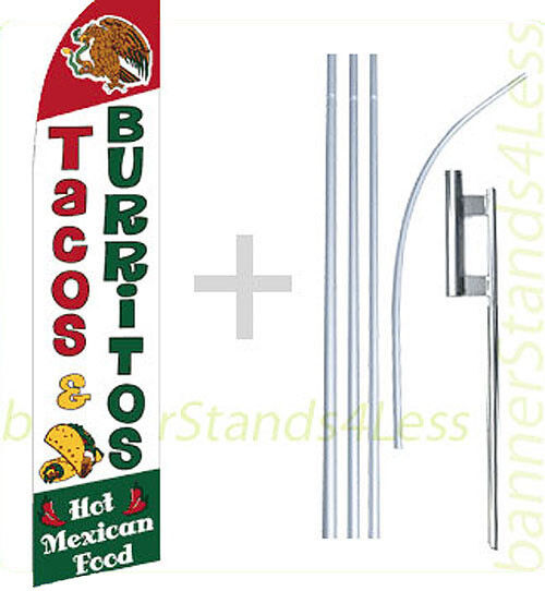 Feather Swooper Banner Sign Flag 15' Kit -TACOS BURRITOS MEXICAN FOOD f