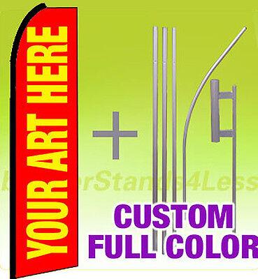 2 Pack - Custom Swooper Flag Kit Feather Banner Sign 15- Full Color Printing
