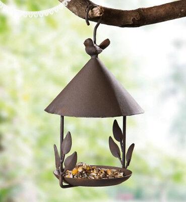 (Garden Wild Bird Outdoor Feeder Seed Food Tree Hanging Gazebo cast Antique iron)