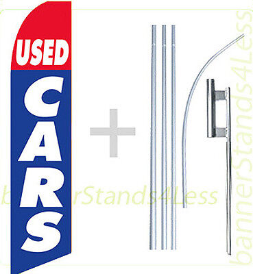 Used Cars Swooper Flag Kit Feather Flutter Banner Sign Auto 15 - Bb
