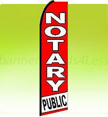 Notary Public Swooper Flag Feather Flutter Banner Sign 11.5 Tall - Rq