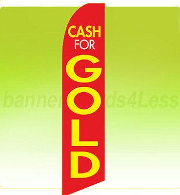 Cash For Gold Swooper Flag Feather Flutter Banner Sign 11.5 - Ryb