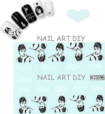 20 stickers DECALS NAIL ART water transfer-unghie adesivi TATTOO Audrey Hepburn! usato  Firenze