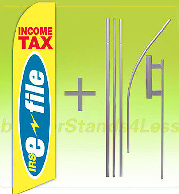 Income Tax Irs E-file - Feather Flutter Swooper Banner Sign Flag Tall 15 Kit Yb
