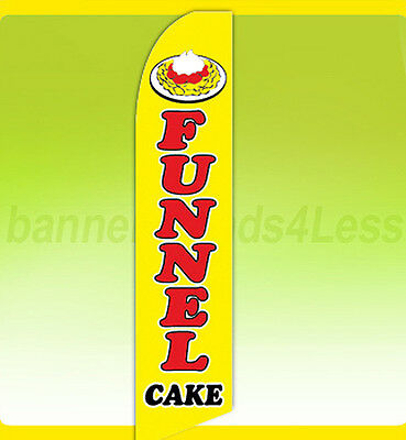 Funnel Cake - Swooper Flag Feather Flutter Banner Sign 11.5 Tall - Yb