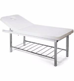 Manual Adjustable White Steel Bed Table Shelving Massage Facials