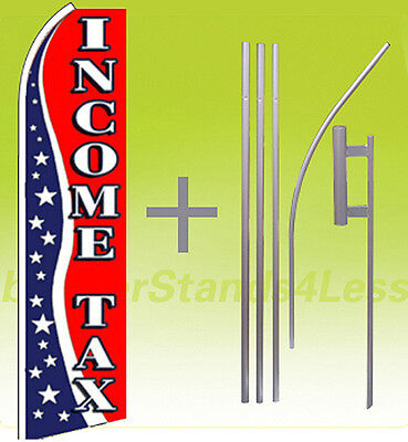 Income Tax - Swooper Feather Flutter Banner Sign Flag 15 Tall Kit Usa3q