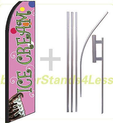 Ice Cream Swooper Flag Kit Feather Flutter Banner Sign 15 - Green Scriptpq