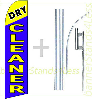 Dry Cleaner Swooper Flag Kit Feather Flutter Banner Sign 15 Set - Bq