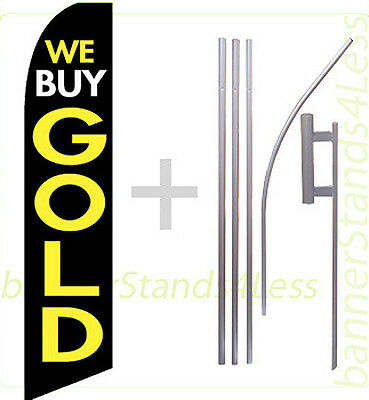 We Buy Gold Swooper Flag Kit Feather Flutter Banner Sign 15 - Kb