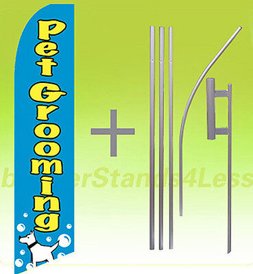 Pet Grooming - Swooper Flag Kit Feather Flutter Banner Sign 15 Set - Cb