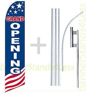 Grand Opening - Swooper Flag 15 Kit Feather Flutter Tall Banner Sign - Usa Bb