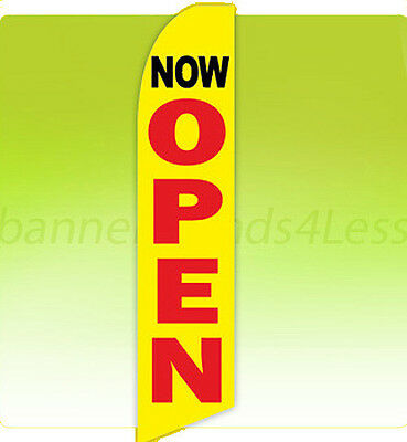 Now Open Swooper Flag Feather Flutter Banner Sign 11.5 - Yb