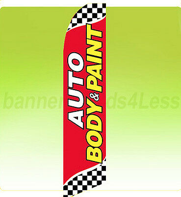 Auto Body Paint Swooper Flag Feather Flutter Banner Sign 11.5 - Checkered Rb