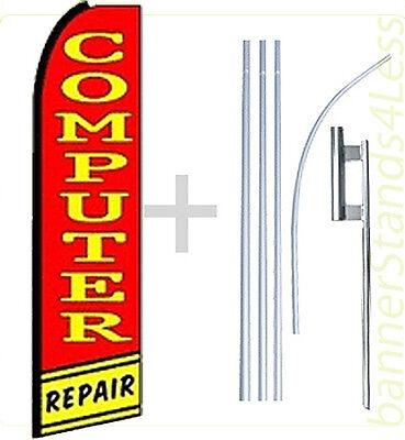 Computer Repair Swooper Flag Kit Feather Flutter Banner Sign 15 Tall - Q1