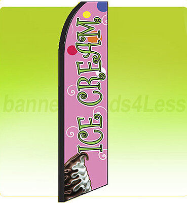 Ice Cream Swooper Flag Feather Flutter Banner Sign Tall 11.5 - Green Scriptpq