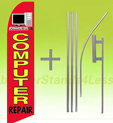 Feather Swooper Flutter Tall Banner Sign Flag 15 Kit   Computer Repair Rb