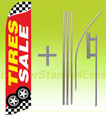 Tires Sale Swooper Flag Kit Feather Flutter Banner Sign 15 Tall - Checkered Rb