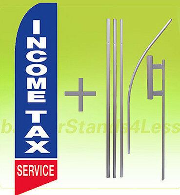 Income Tax Service - Feather Flutter Swooper Tall Banner Sign Flag 15 Kit Bb